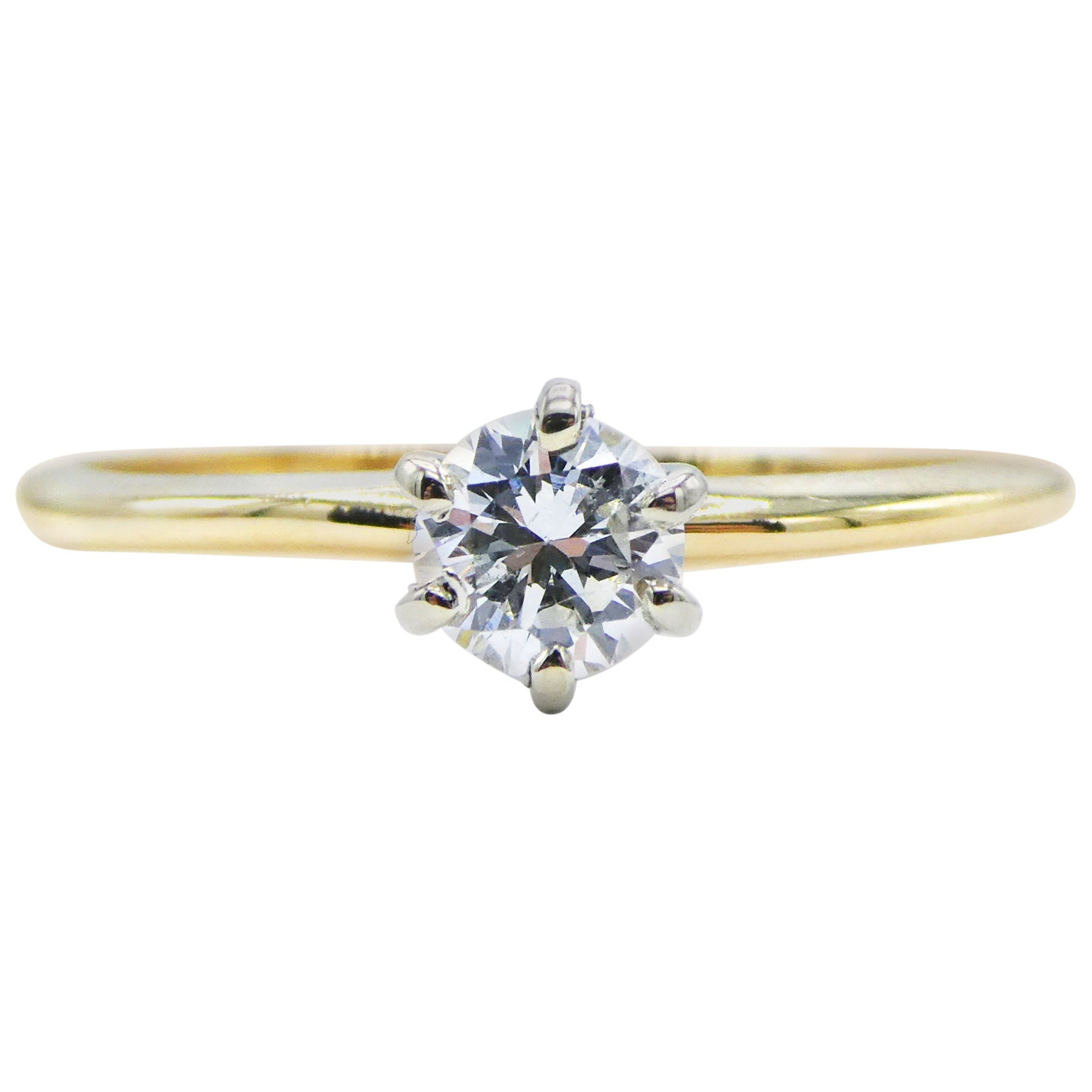 14 Karat Yellow Gold 0.25 Carat Round Brilliant Cut Diamond Solitaire Ring