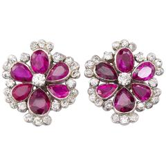 No Heat 8.00 Carat Burma Ruby Diamond Flower Earrings Earclips, circa 1930s