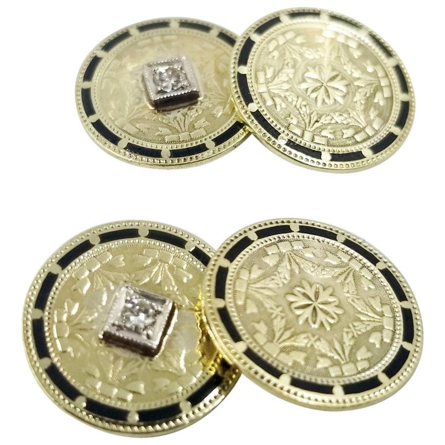 Antique Gold, Diamond, and Enamel Cufflinks