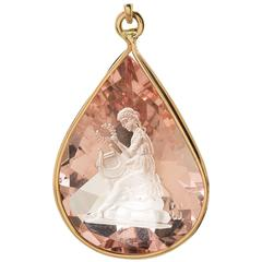 "Morganite ""Muse with Lyre"" Pendant"
