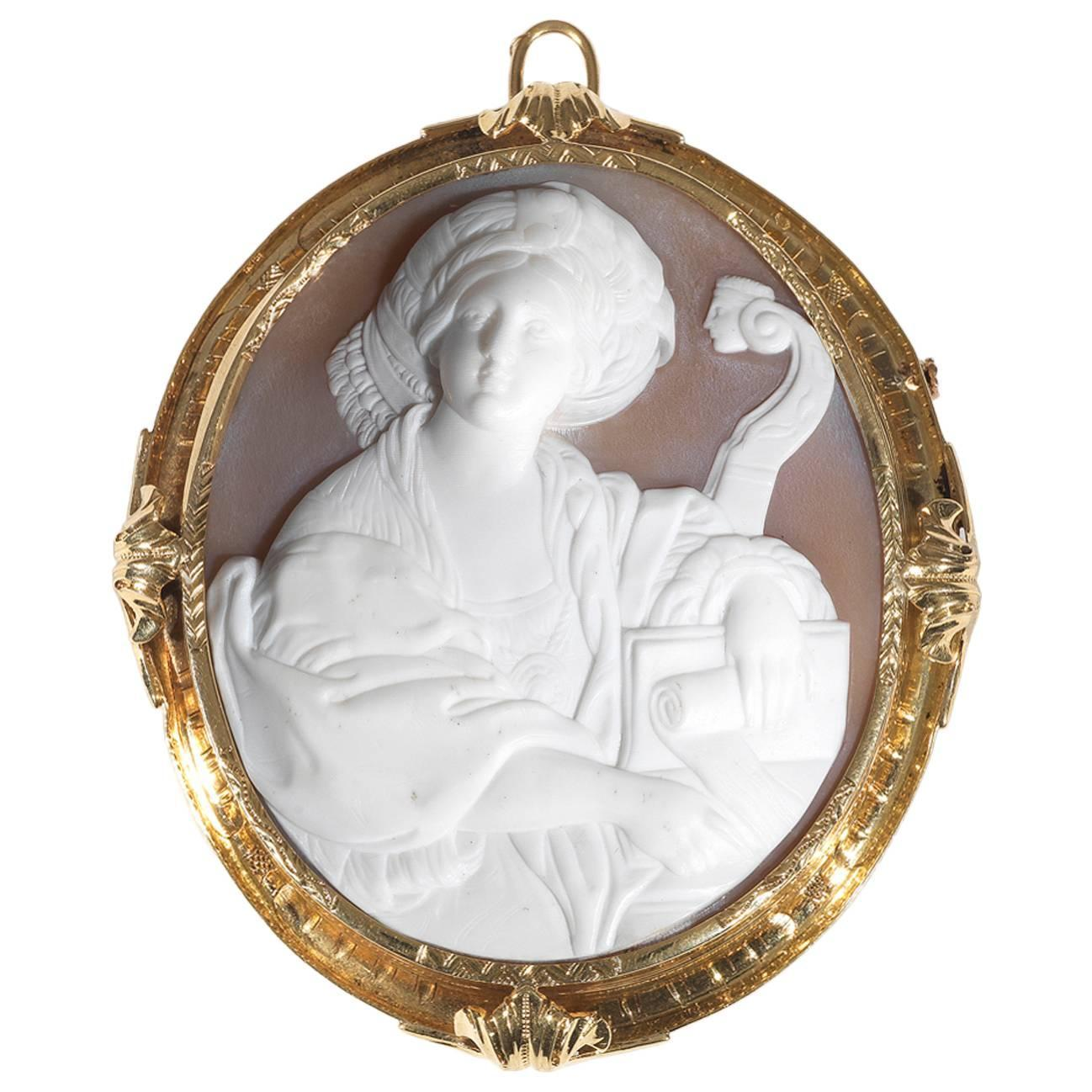 antique cameo shell brooch pendant at 1stdibs