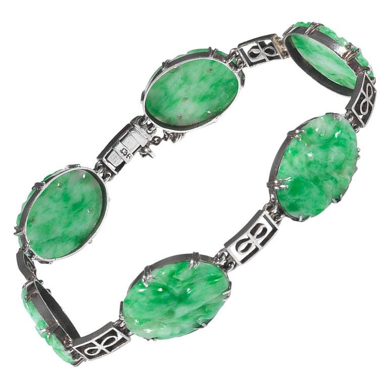 Jade White Gold Bracelet