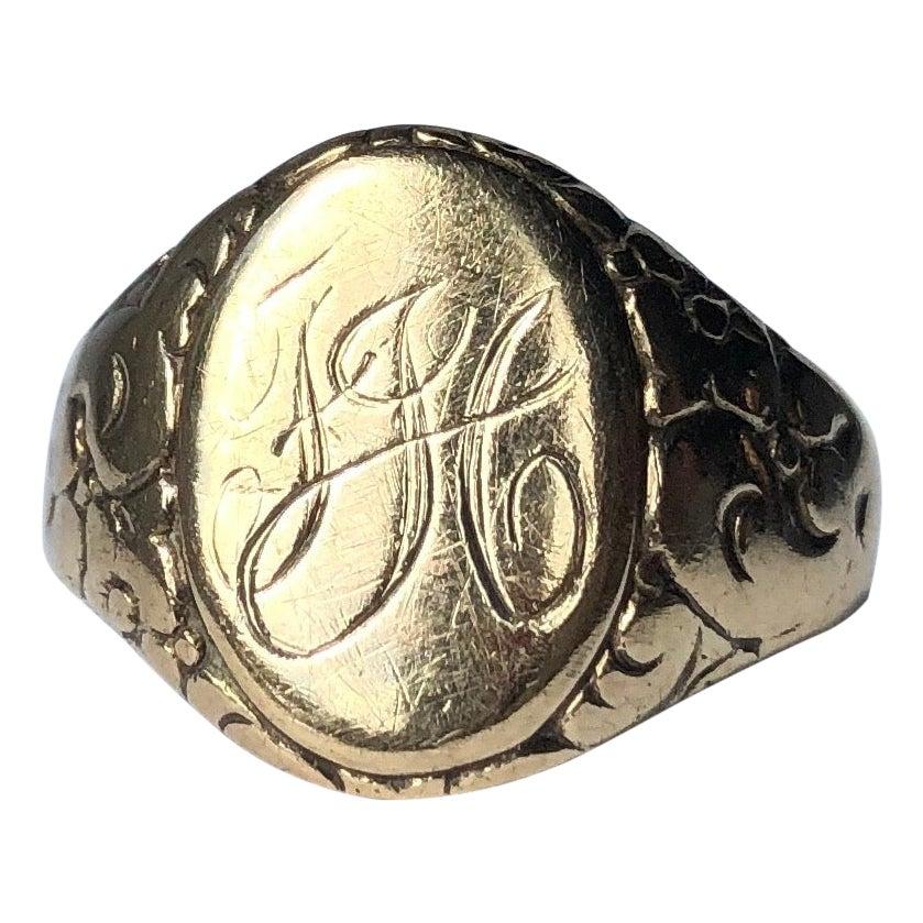 Antique 9 Carat Gold Engraved Fancy Signet Ring