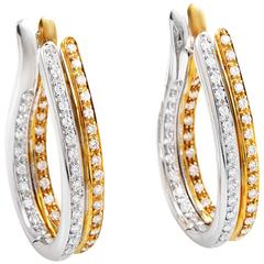 Picchiotti Multi-Tone Diamond Gold Hoop Earrings