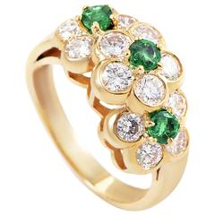 Van Cleef Arpels Yellow Gold Diamond and Emerald Ring