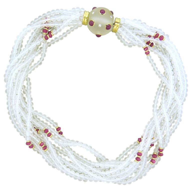 Trianon Frosted Crystal Ruby Diamond Gold Multi Strand Necklace