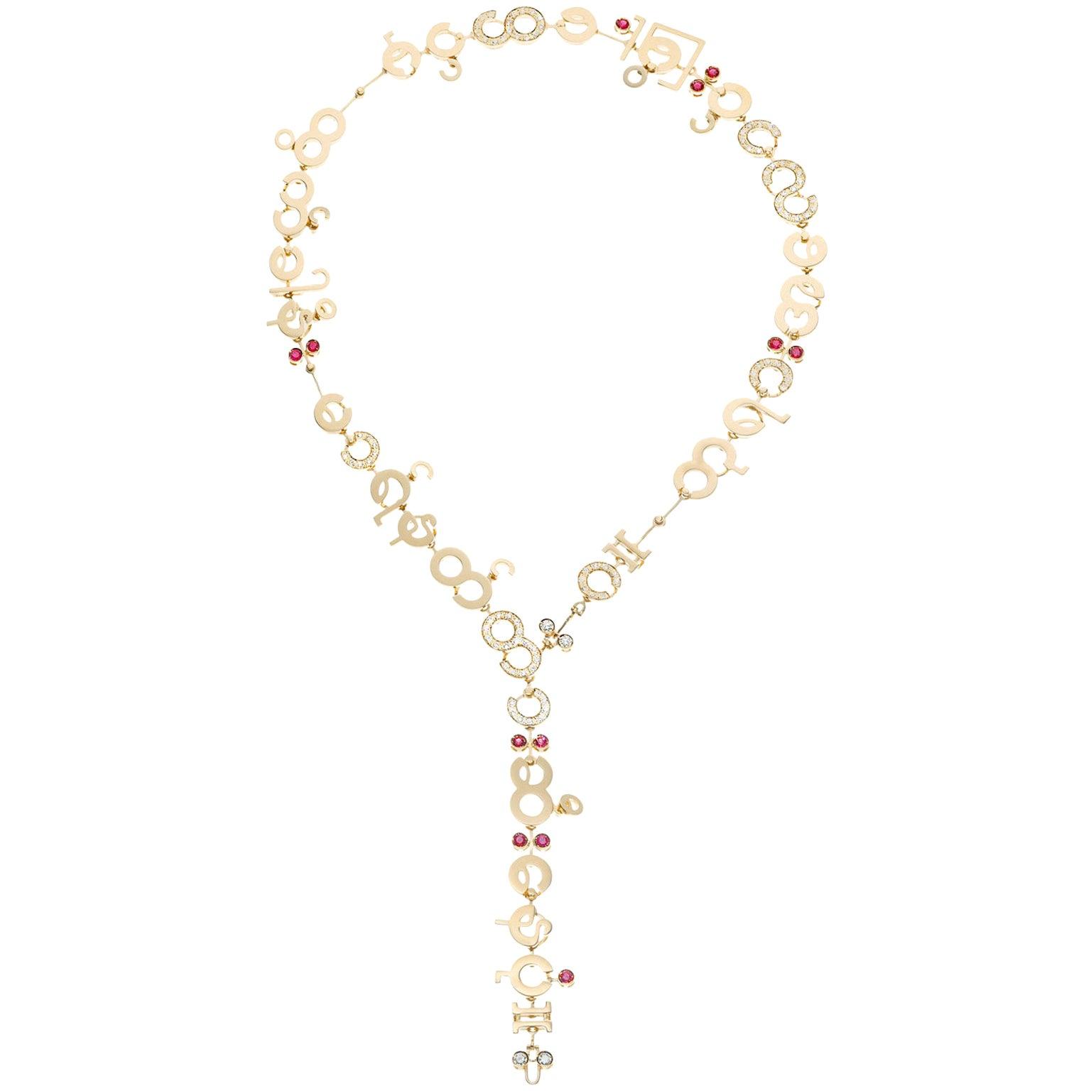 Nathalie Jean Contemporary 2.32 Carat Diamond 1.2 Carat Ruby Gold Drop Necklace