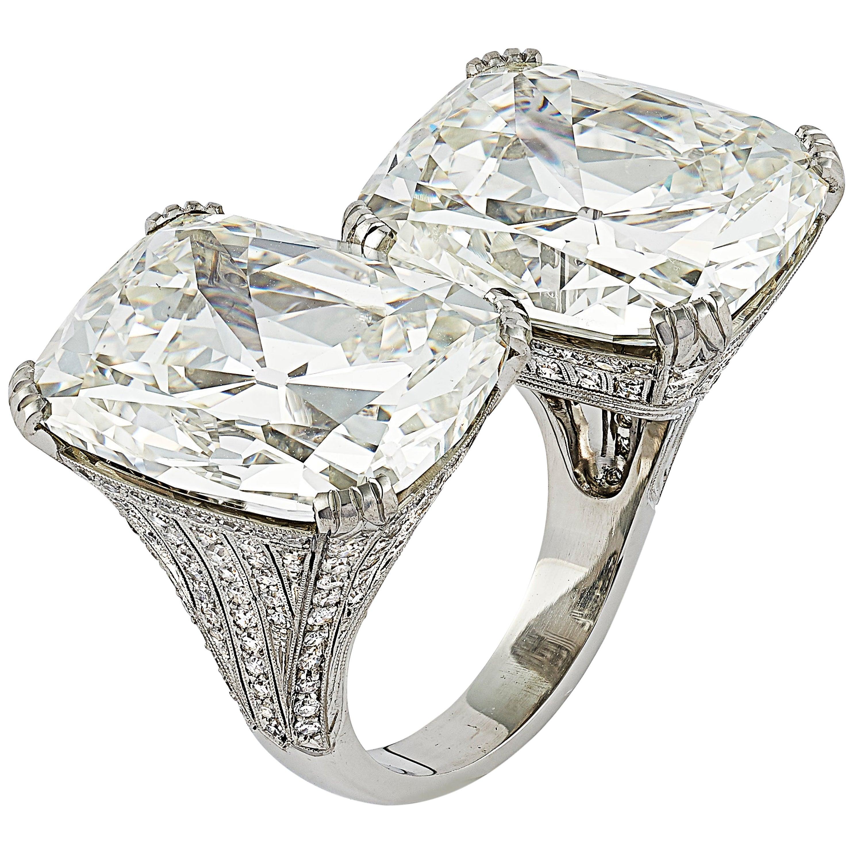 Extraordinary 41.78 Carat Cushion Cut Diamond Crossover Ring by Hancocks