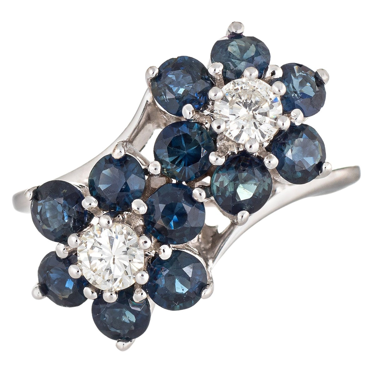 Sapphire Diamond Double Flower Ring Moi et Toi 14 Karat Gold Vintage Jewelry
