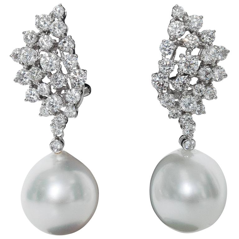 Diamond Cer And Pearl Dangle Earrings For