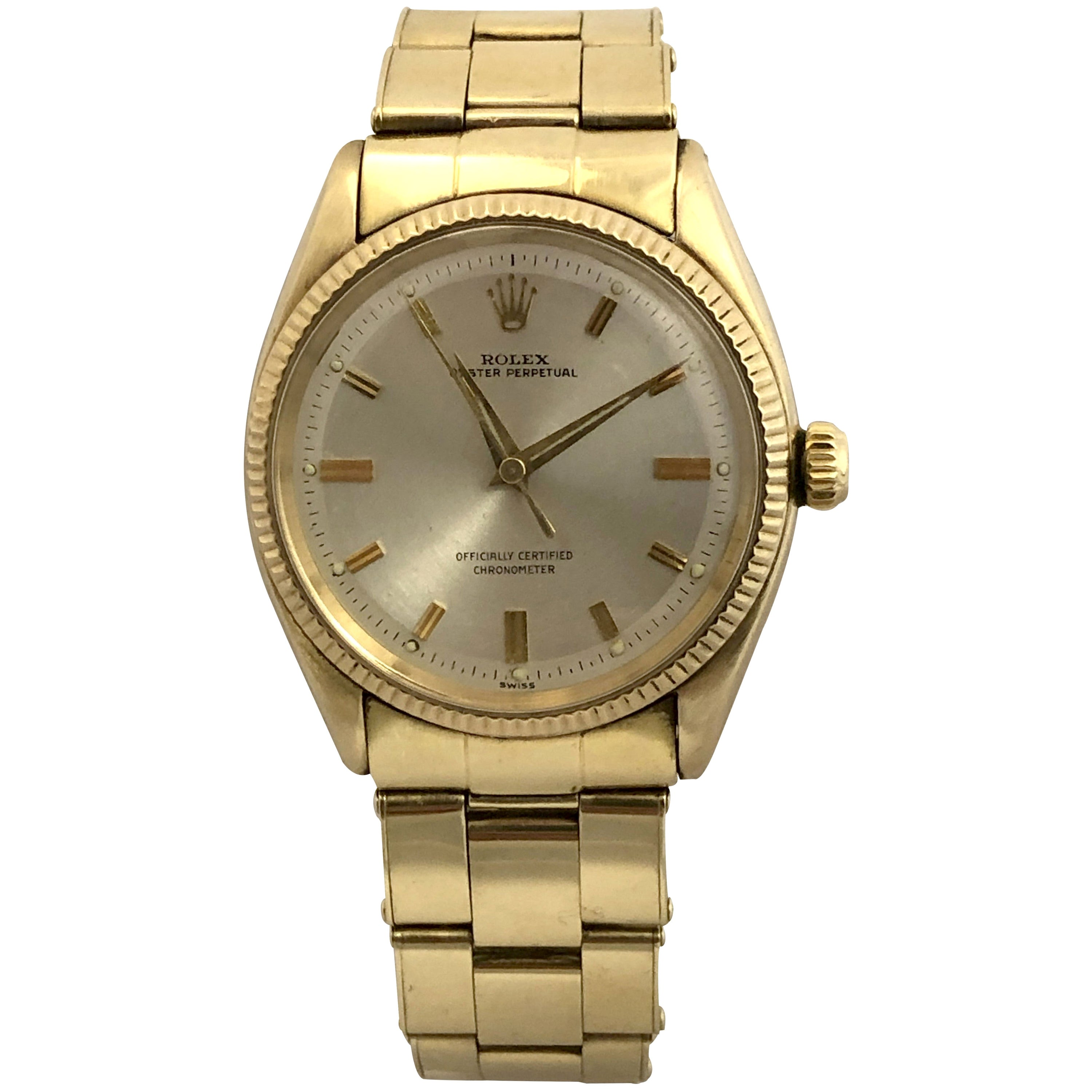 Rolex 1950s Ref 6567 Oyster Perpetual Gold Automatic Wristwatch on Bracelet