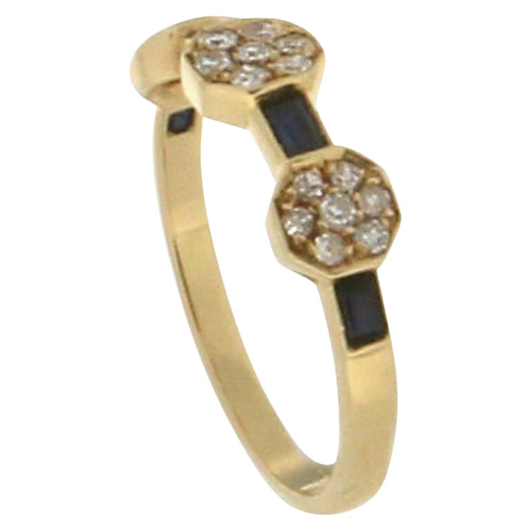 Handcraft Sapphire 18 Karat Yellow Gold Diamonds Cocktail Ring