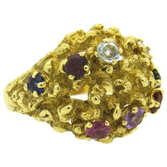 1970s H Stern Multicolor Gemstone Gold Free Form Dome RIng
