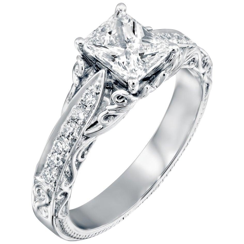 1 3/4 Carat Radiant Cut Engagement Ring 18 Karat White Gold Vintage Diamond Ring
