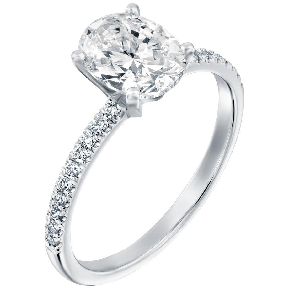 2.15 Carat GIA Oval Cut Diamond Ring, 18 Karat Gold Solitaire Engagement Ring