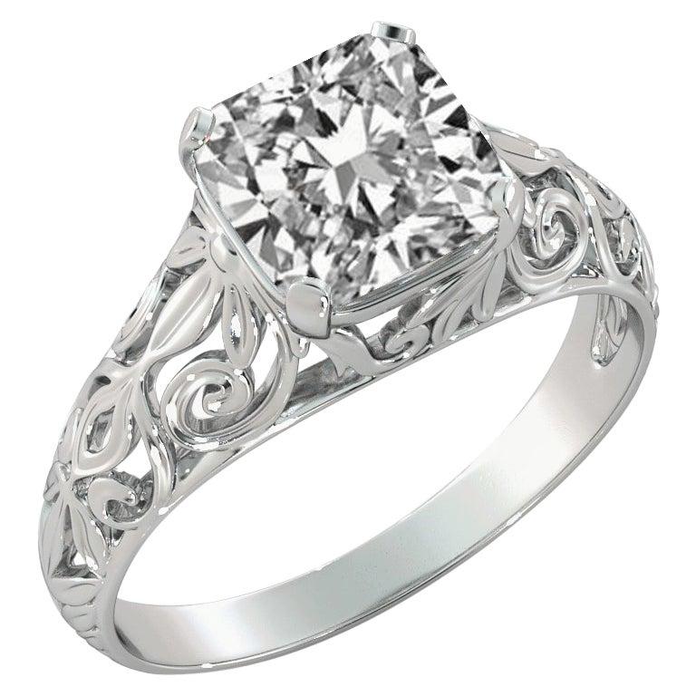 2 Carat GIA Cushion Engagement Ring, Vintage Diamond Ring, 18 Karat White Gold