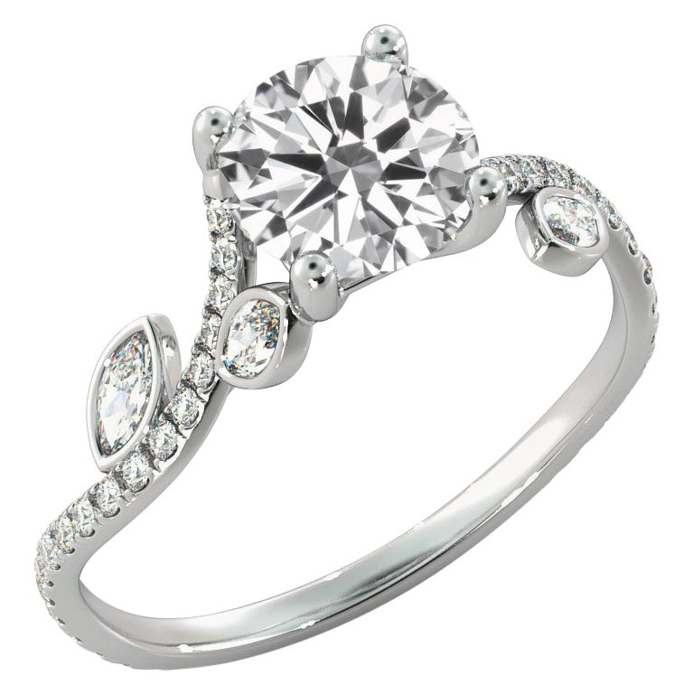 2.5 Carat GIA Diamond Engagement Ring, 18 Karat White Gold Flower Vine Ring