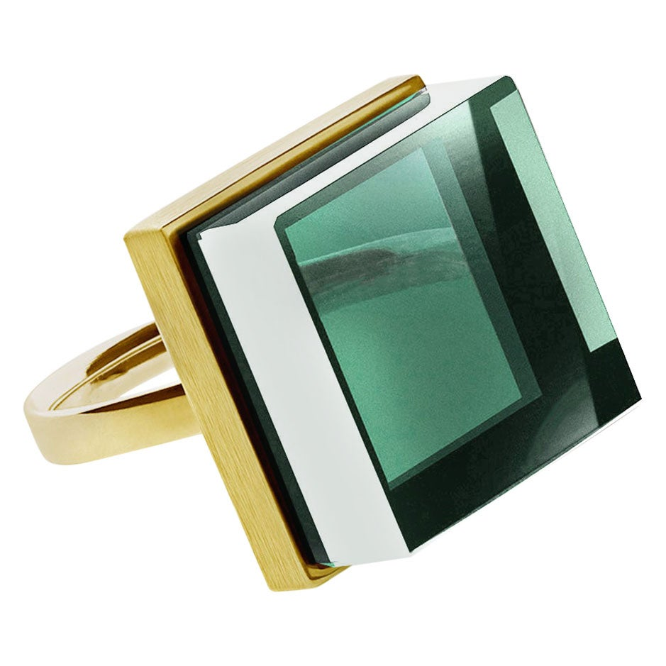 Yellow Gold-Plated Art Deco Style Sterling Silver Ring with Green Amethyst