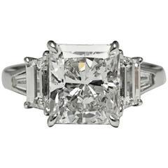 5.53 Carat GIA Cert Asscher-Cut Diamond Platinum Engagement Ring