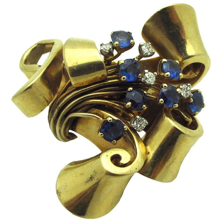 Sapphire Diamond Gold Ribbon Brooch For Sale