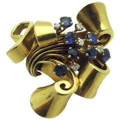 Sapphire Diamond Gold Ribbon Brooch