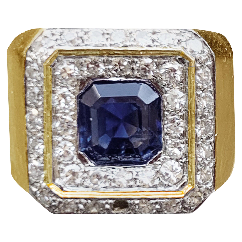 Sapphire and Diamond 18 Karat Yellow and White Gold Ring