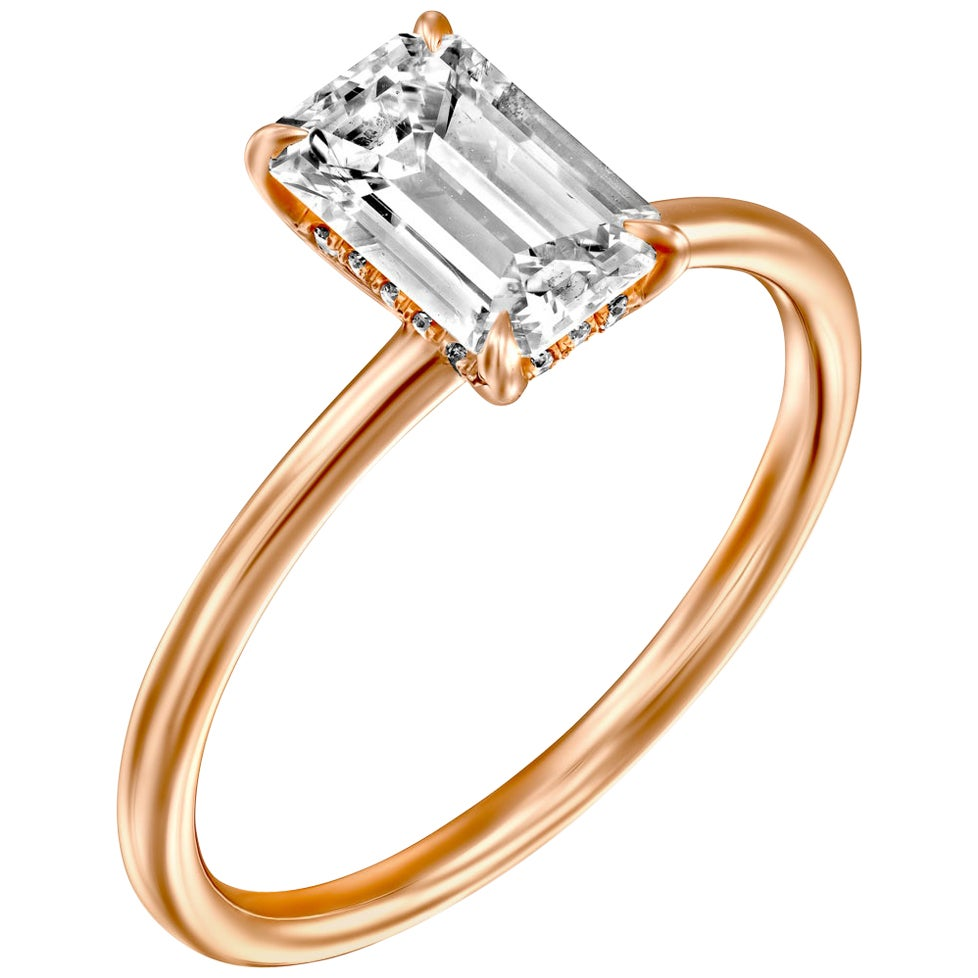 1.5 Carat GIA Diamond Ring, Solitaire Emerald Cut 18 Karat Rose Gold Ring