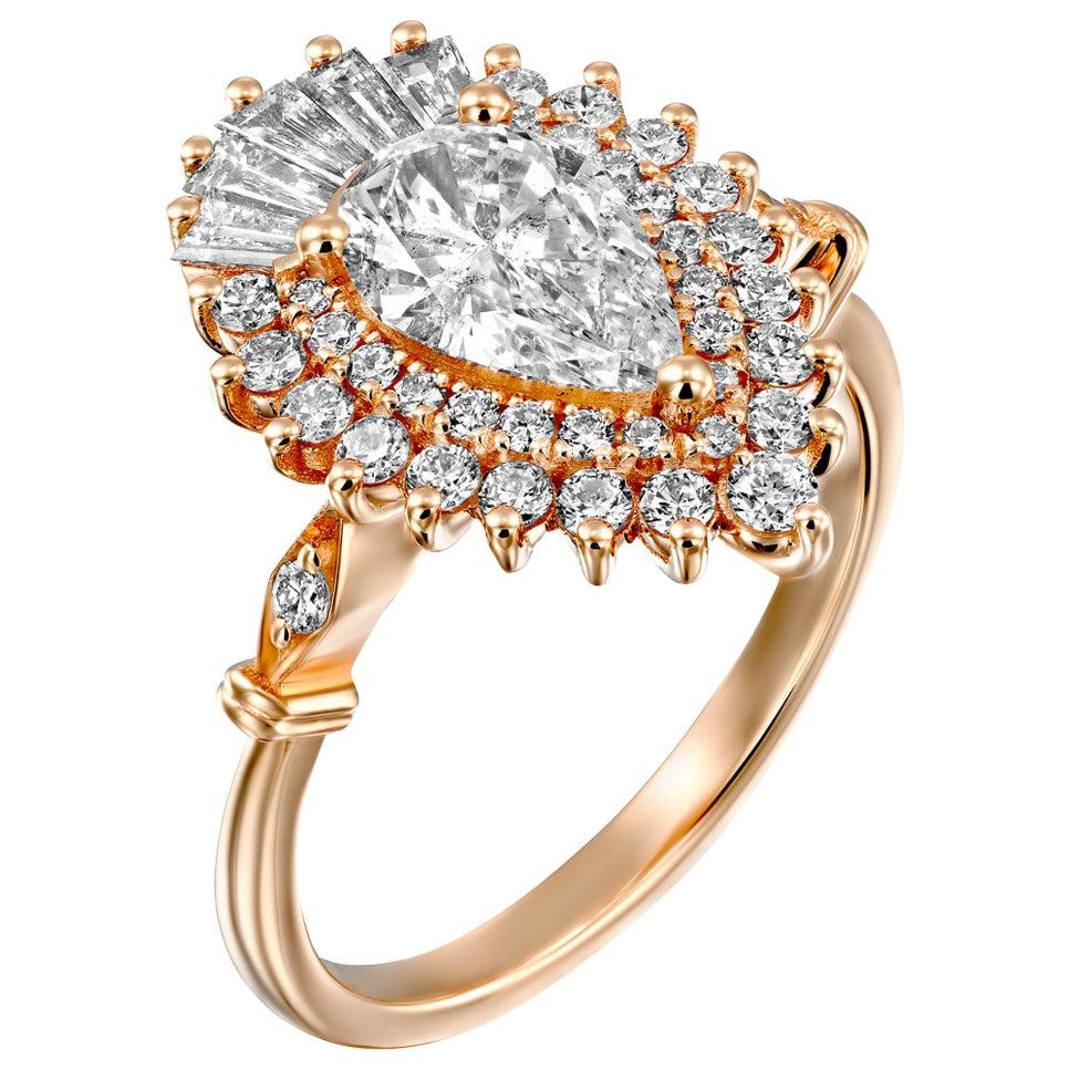 1 1/4 Carat GIA Diamond Ring, Gatsby Pear Halo 18 Karat Rose Gold Ring
