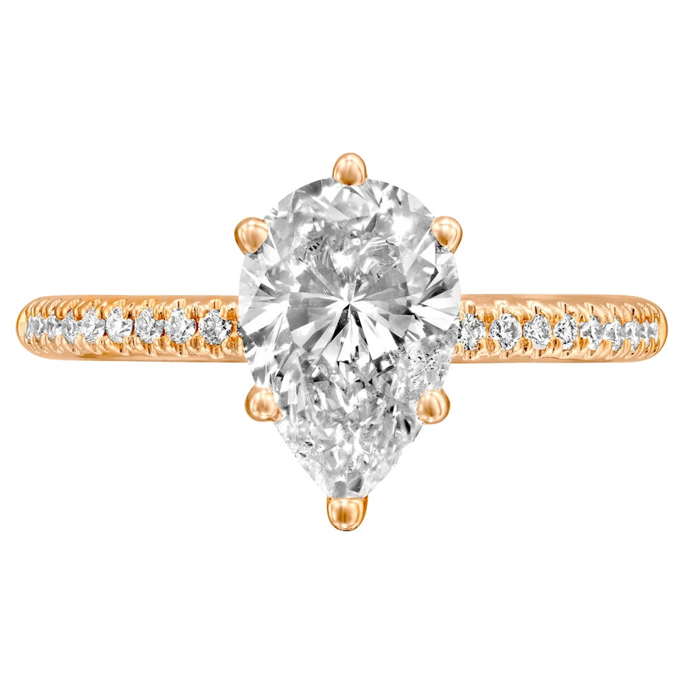 1.2 Carat GIA Pear Diamond Engagement Ring, Drop Shape Solitaire Diamond Ring