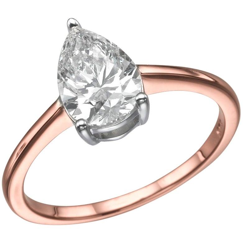 1 Carat Pear Shape Diamond Ring, 18 Karat Rose Gold Solitaire Engagement Ring