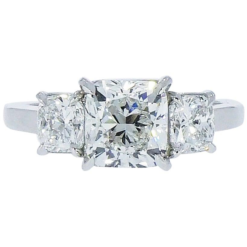 GIA Certified Cushion Shaped Diamond 3-Stone Platinum Engagement Ring