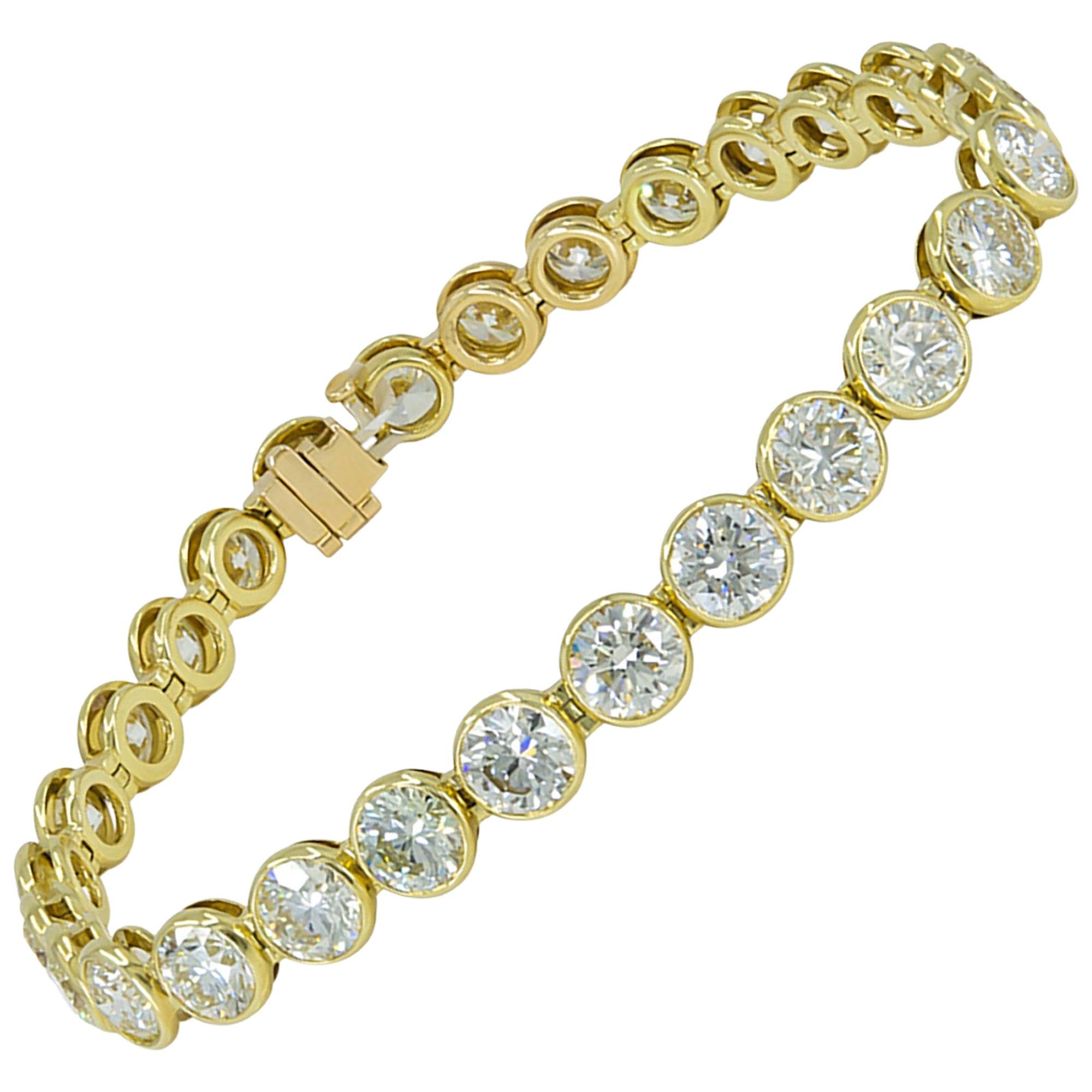 15.10 Carat Diamond 18 Karat Yellow Gold Tennis Bracelet