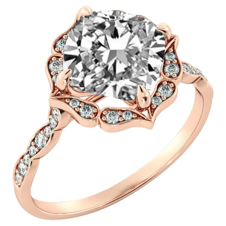 2 1/4 Carat GIA Cushion Halo Ring, 18 Karat Rose Gold Vintage Diamond Ring