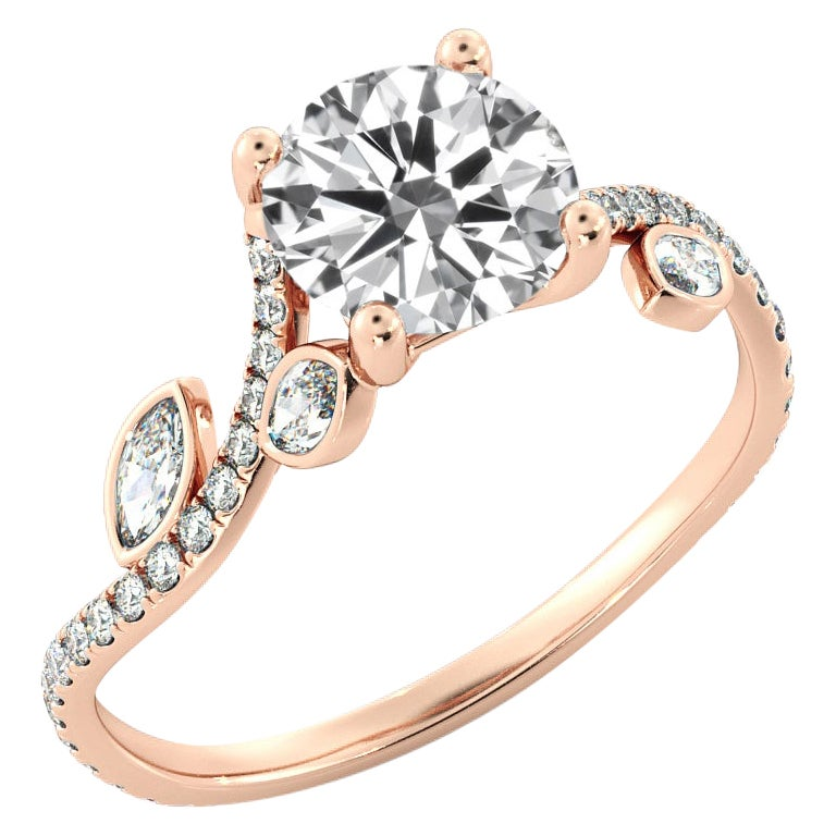 1.5 Carat GIA Diamond Engagement Ring, 18 Karat Rose Gold Flower Vine Ring
