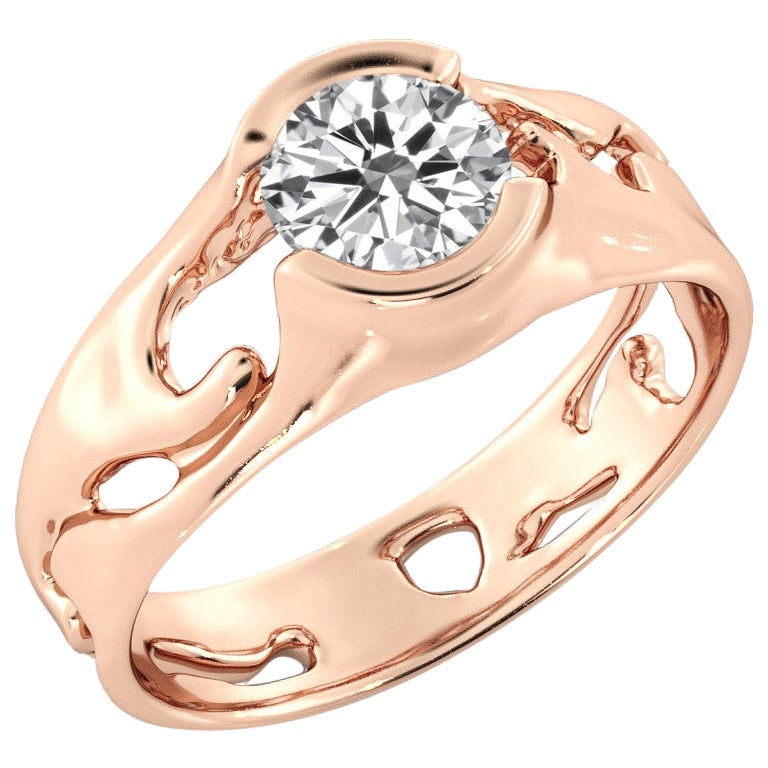 1 Carat GIA Round Diamond Engagement Ring, Solitaire Bezel 18 Karat Rose Gold