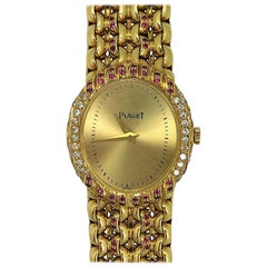 Piaget Ladies Gold Watch with Pink Sapphires and Diamonds