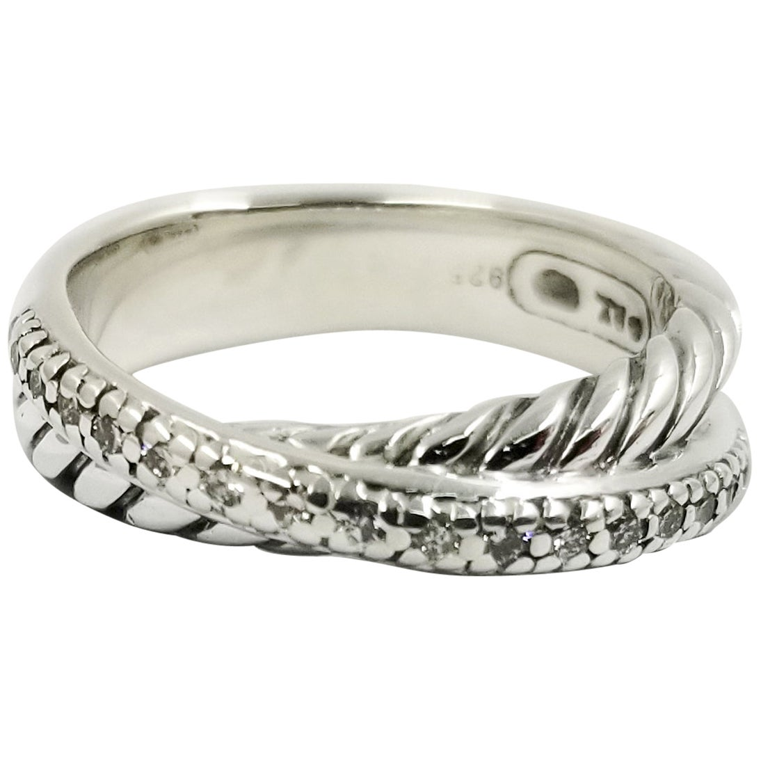 David Yurman Sterling Silver and Diamond Crossover Ring Band
