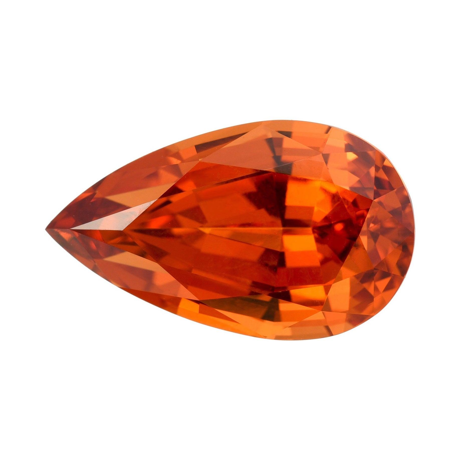 Mandarin Garnet Ring Necklace Gem 10.98 Carat Pear Shape Loose Gemstone