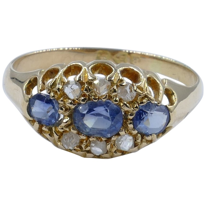 Antique 18ct Yellow Gold Hallmarked 1906 Chester Ceylon Sapphire & Diamond Ring