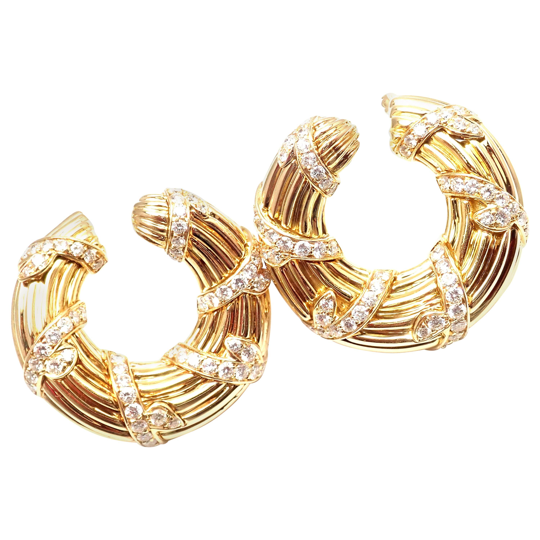 Cartier Diamond Hoop Yellow Gold Earrings
