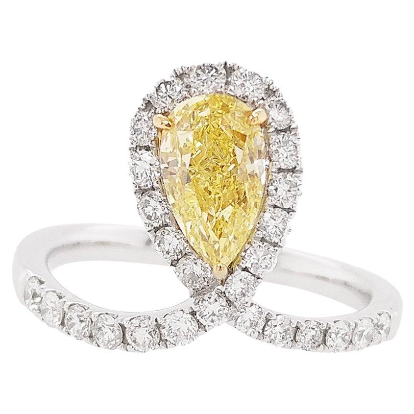 HYT GIA Certified Fancy Intense Yellow Diamond and White Diamond Engagement Ring