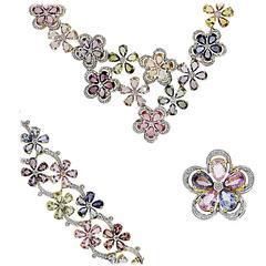 Diamond Sapphire Flower Yellow Gold  Jewelry Set