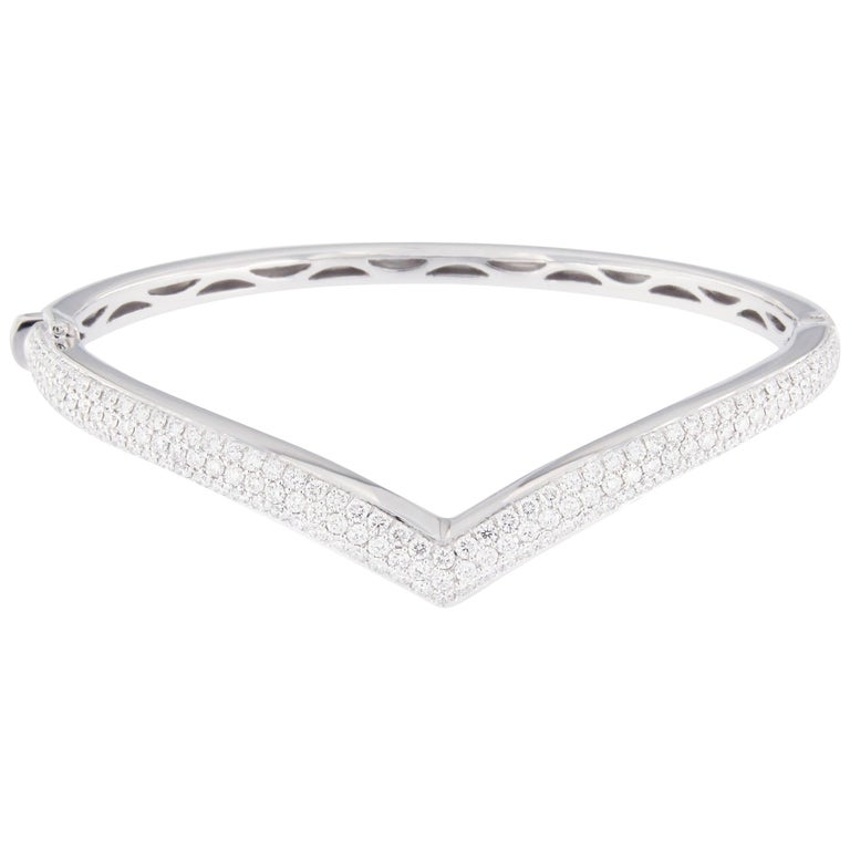 Jona White Diamond Pavé White Gold Bangle Bracelet 1