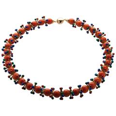 Gold and coral necklace by Giancarlo Montebello, 1980