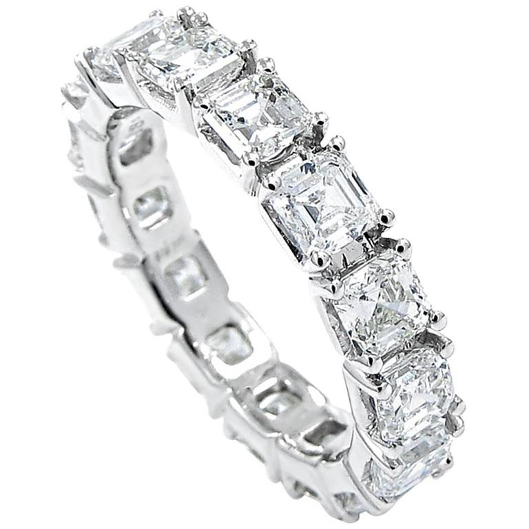 Asscher Cut Diamond gold Eternity Band ring For Sale at ...