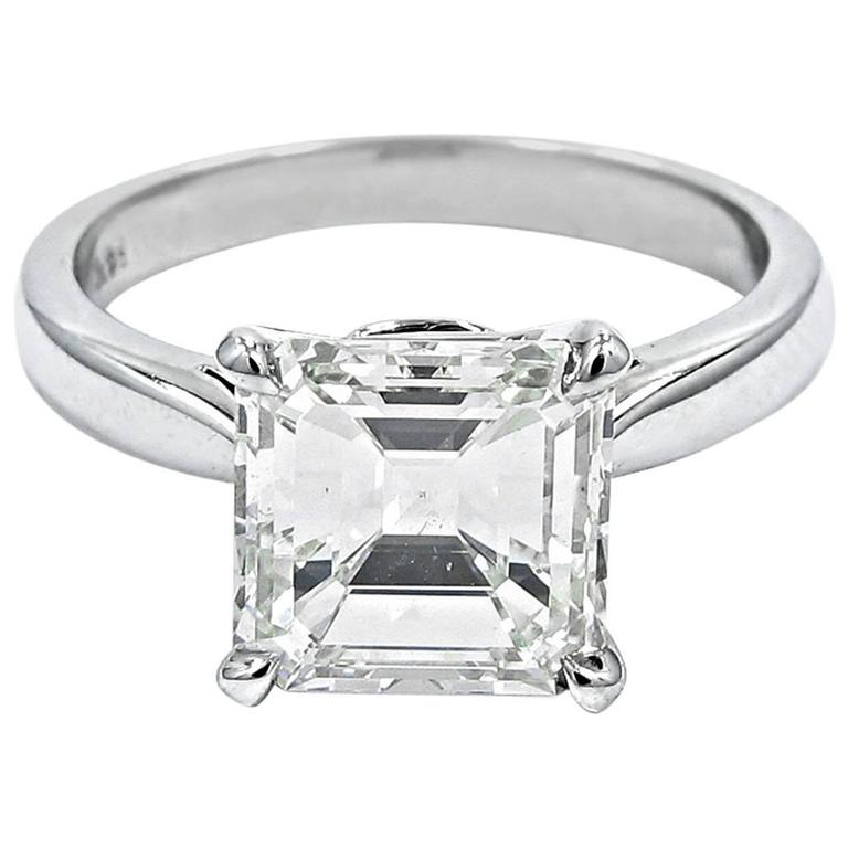 3 06 Carat GIA Report Emerald Cut Diamond Square Gold Engagement Ring For Sal