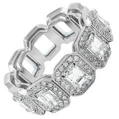 5 Stone Emerald Cut Diamond Band