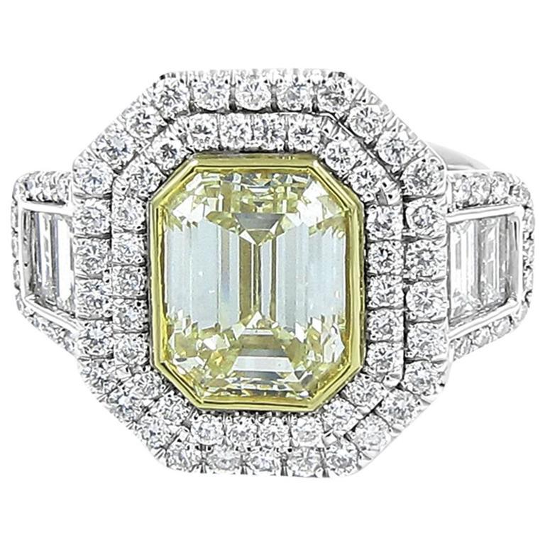 4.01 Carat Fancy Yellow Diamond Engagement Ring