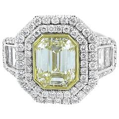 4.01 Carat Fancy Yellow Diamond Engagement Ring