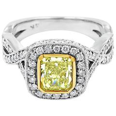 Fancy Yellow Radiant Diamond Engagement Ring